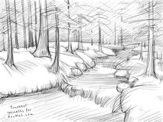 Charcoal Drawing Techniques How to draw a river step 5 Landscape Pencil Drawings, Landscape Sketch, Art Drawings Sketches, Easy Drawings, Simple Landscape Drawing, Landscape Drawing Tutorial, River Drawing, Nature Drawing, How To Draw Nature