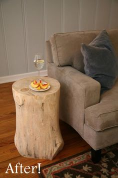 I've always wanted a tree trunk table like this! Letting it dry completely, then stripping the bark, is a good idea.