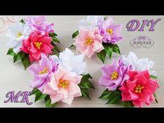 Цветы из узких лент. Зажимы с тройным цветком. Канзаши МК/DIY - YouTube
