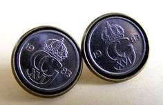 1 pair Fake Plugs Earrings 10öre Coin Sweden by Trendsandgoods. www.Trend-Factory.se