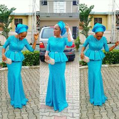 Aso Ebi Dresses : Latest Ankara Styles and Aso Ebi Styles Fashion Style African Prom Dresses, African Dresses For Women, African Fashion Dresses, African Attire, African Wear, African Women, Afro, Lace Skirt And Blouse, Lace Peplum