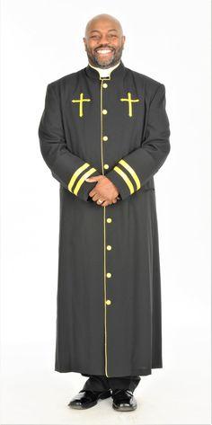 49d57af85d CLOSEOUT Men s Peter Clergy Robe For Men In Black   Gold