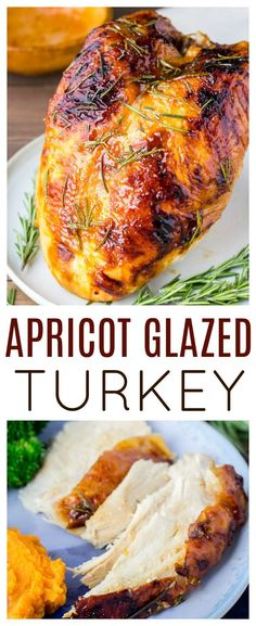 Rosemary Apricot Glazed Turkey Breast – Savory rosemary and sweet apricot are perfect flavors for this turkey recipe! This glazed turkey is not only beautiful, but delicious! It's perfect for Thanksgiving dinner! Healthy Thanksgiving Recipes, Thanksgiving Sides, Thanksgiving Desserts, Vegetarian Recipes, Christmas Desserts, Healthy Turkey Recipes, Fall Recipes, Delicious Recipes, Healthy Bedtime Snacks