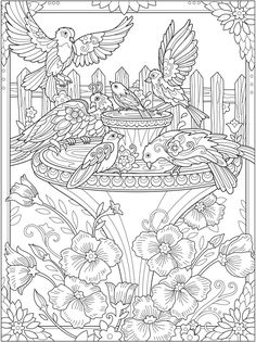 Garden free printable coloring page from Dover Publication #Gardencoloring #freecoloringpage #freeprintable #coloringforadults #adultcoloring #coloringpage #coloringforgrownups #birdscoloringpage #fontaincoloring #printablecoloringpage Detailed Coloring Pages, Printable Adult Coloring Pages, Fairy Coloring, Mandala Coloring Pages, Coloring Pages To Print, Colouring Pages, Free Coloring, Coloring Sheets, Kids Coloring