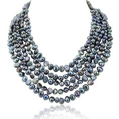 5 row High Luster Black Freshwater Cultured Pearl necklace with mother of pearl base metal clasp -- Want additional info? Click on the image.