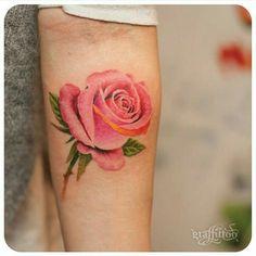 By Tattooist River | Korea | #Rose #Tattoo #Flower