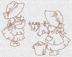 Christmas Sunbonnet Sue - Vintage Redwork - Machine Embroidery designs at Splinters & Threads Embroidery Transfers, Applique Embroidery Designs, Free Machine Embroidery Designs, Vintage Embroidery, Applique Quilts, Cross Stitch Embroidery, Embroidery Ideas, Sunbonnet Sue, Embroidery Techniques