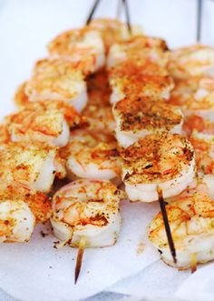 Shrimp!  The best and easiest shrimp ever!  My recipe for Key West Shrimp!      Peal and wash shrimp.  Put on skewers.  Coat lightly with olive oil.  Sprinkle heavily with Cajun Seasoning (at the store – called Cajun Seasoning).   Grill shrimp until done.  Squeeze lime onto shrimp while grilling.  Everyone says these are the best shrimp they have ever had.  Enjoy!