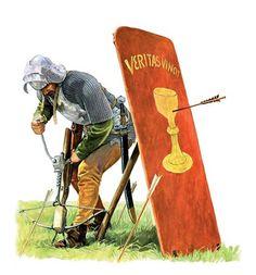 La Pintura y la Guerra. Medieval Crossbow, Medieval Weapons, Medieval Life, Medieval Knight, Medieval Fantasy, Ancient Rome, Ancient History, Armadura Medieval, Landsknecht