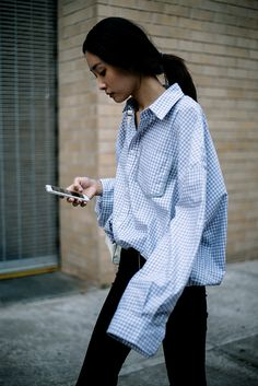 Street Style_ gingham check men's shirt worn back skinnies || Saved by Gabby Fincham ||