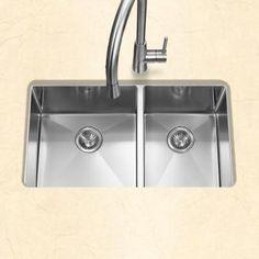 HOUZER Savoir Series Undermount Stainless Steel 32 In. Double Bowl Kitchen  Sink, Satin Brushed