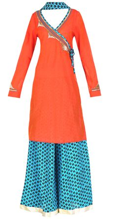 Orange angrakha style tunic with sharara pants and dupatta by Surendri/Yogesh Chaudhary    Shop at https://www.perniaspopupshop.com/whats-new/surendri-yogesh-chaudhary