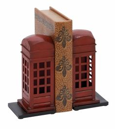 Benzara 55856 Adorable Book Ends - London Phone Booth Bookends At Wildorchidquilts.Net