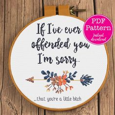 Cross Stitch Quotes, Cross Stitch Art, Cross Stitching, Cross Stitch Embroidery, Cross Stitch Flowers, Funny Embroidery, Embroidery Patterns Free, Hand Embroidery, Embroidery Designs