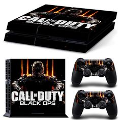 Call of Duty Black Ops Skin Wrap for PS4 Playstation 4 Console + 2pcs PS4 Controllers Skin Wraps