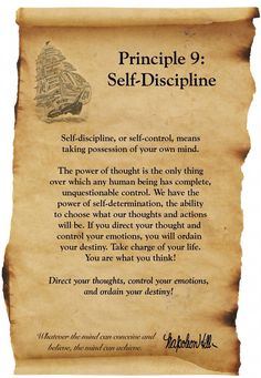Think and Grow Rich - Napolean Hill - Principle 9 - Self Discipline