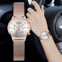 5b97acd691f7  47.8 - Awesome MEGIR Women Stainless Steel Mesh Bracelete Quartz Watches  Chronograph 24 Hours Date Display
