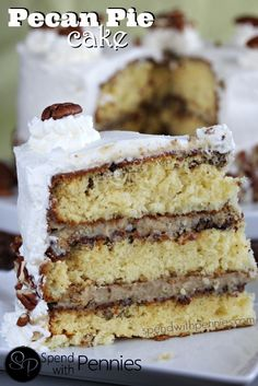 Pecan Pie Cake!  This gorgeous 3 layer cake is wonderful!