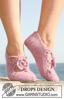 "Crochet DROPS slipper in ""Karisma"" and ""Kid-Silk"". US size 5-10½ ~ DROPS Design"