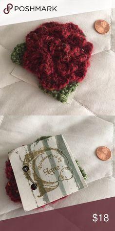 Crochet Flower Brooch Burgundy and green crochet flower brooch. Handmade art piece by jewelry designer, Liane Eisenbart. Jewelry Brooches