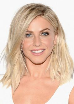 Julianne Hough is giving off major golden goddess vibes with perfectly sculpted brows, cool blond hair, glowing skin, and a nude pout