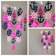 Hot pink Light Pink and Navy blue Nautical Mobile  by MadeByKatee, $55.00