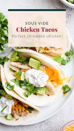 Shredded Chicken Tacos ways to prepare!) - Fit Foodie Finds Not only are these Shredded Chicken Tacos healthy and delicious, but we're also sharing 3 ways to prepare the chicken you'll need for your next taco night! Rotisserie Chicken Tacos, Healthy Chicken Tacos, Lime Chicken Tacos, Slow Cooker Shredded Chicken, Mexican Shredded Chicken, Slow Cooker Chicken Thighs, Baked Chicken Tacos, Chicken Taco Recipes, Shredded Chicken Recipes