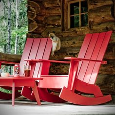 nice red chairs to relax in on the porch