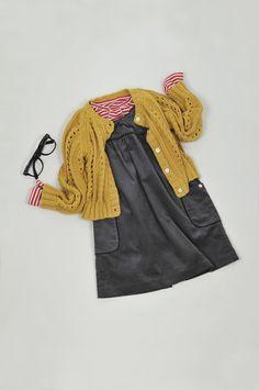 gray dress, mustard cardigan