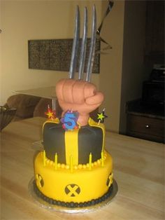 I made this for my son's birthday. Wolverine claw, x-men cake