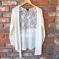 """Knitted cardigan White, open, knitted cardigan with lace on sleeves and upper back part. Measurement: bust - 18"""", sleeves- 18"""", length- 34"""" (longest part), hem- 19"""". Nwot. Rue 21 Sweaters Cardigans"""