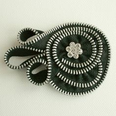 Zipper composition with button, pin-brooch-corsage 13 $