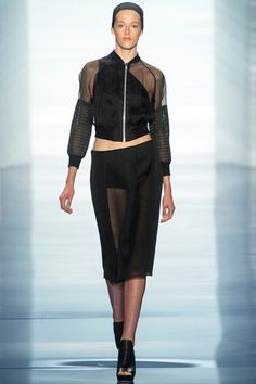 TREND: SPORTY vera wang Style.com's Guide to the Spring 2014 Runway Trends - sheer, varsity, bomber, pencil skirt, black, see-through