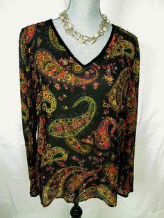 Dana Buchman 12 L XL Tunic Top Silk Blouse Black Floral Beaded Paisley Shirt #DanaBuchman #Blouse #Casual#Blouse#linen#everyday#floral#boho#arty#paisley#resale#shirt#style#danabuchmanforsale#danabuchmanstyle#trend#fashion#summer#sale#deal #comfortable#buyit#socute#dressitup#shirts