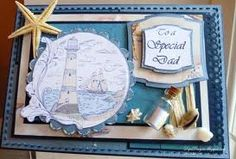 Ship_Ahoy_Kanban_Stamp_Card_resized_by_Dips by Dips - Cards and Paper Crafts at Splitcoaststampers Sand Crafts, Diy Home Crafts, Paper Crafts, Arts And Crafts Storage, Craft Storage, Kanban Cards, Step Cards, Men's Cards, Nautical Cards
