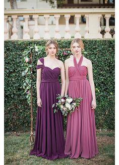 Popular Chiffon One-shoulder Neckline Convertible A-line Bridesmaid Dresses