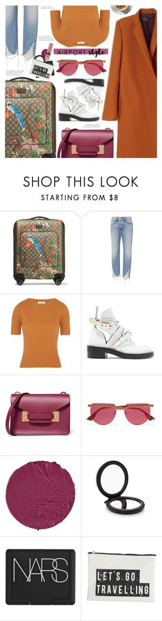 """x Airport Style x"" by chocolate-addicted-angel ❤ liked on Polyvore featuring Gucci, Haider Ackermann, 3x1, Simon Miller, Balenciaga, Sophie Hulme, Le Specs, Givenchy, Victoria's Secret and Cedes"