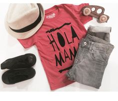 """City Kid"" Hola Mama tee in coral tee!"