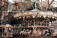 """Paris Carousel Photos - Dreamy Paris Carousel, Paris Sepia Prints, Sacre Coeur Montmartre District, Fine Art Photo 8"""" x 12"""""""