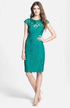 ML Monique Lhuillier Lace Overlay Sheath Dress - Never Be Afraid to Rock Colour at a Wedding!