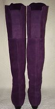 RARE Chinese Laundry Over The Knee Purple Suede Low Wedge Turbo Boot 5.5 M