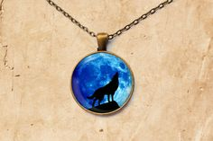 Howling Wolf necklace Blue Moon pendant by SleepyCatPendants