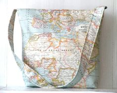World map printtravel tote bagschool bagdiaper by craftsbynesli, $58.00