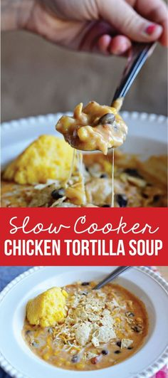 Use Mexican rotel Instead of salsa and half cream cheese at end of cooking Slow Cooker Chicken Tortilla Soup - simple to make and tastes amazing. A favorite family slow cooker recipe! Slow Cooker Huhn, Crock Pot Slow Cooker, Crock Pot Cooking, Slow Cooker Chicken, Slow Cooker Recipes, Crockpot Recipes, Soup Recipes, Cooking Recipes, Recipies