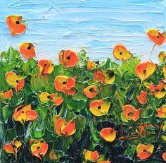 "Yellow Poppies, California Poppies, Poppy Art, Poppy, Yellow Poppy, Floral, 6x6"", Gift, Original Artwork by Award Winning Artist Lisa Elley"