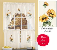Floral Embroidered Sunflower Tier Curtain Set