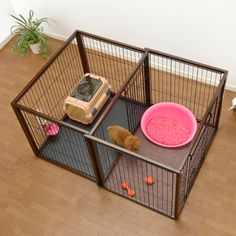 Our flip to play dog crate is like having two pet products in one! It gives you the ability to have crate for your pet but also to have a play pen area for your pet.