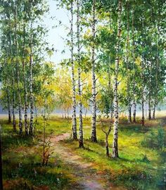 Birch groves are the most beautiful thing about Russia Watercolor Trees, Watercolor Artwork, Watercolor Landscape, Green Landscape, Landscape Art, Landscape Paintings, Oil Painting Pictures, Pictures To Paint, Dream Pictures