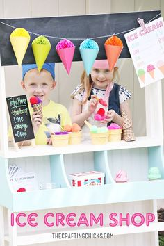 Ice Cream Shop for Kids dramatic play on The Crafting Chicks