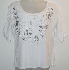 Anthropologie C Keer Beaded T Shirt White. This Anthropologie White  T Shirt is one of Tradesy's Top Ten deals of the week!